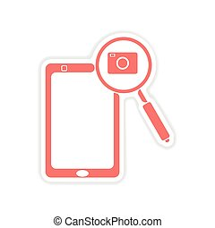 paper sticker on white background mobile phone camera