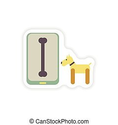 paper sticker on white background mobile phone dog