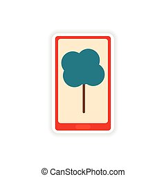 paper sticker on white background mobile phone tree