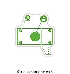 paper sticker on white background money chart