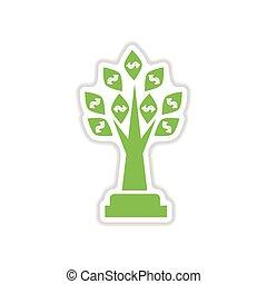 paper sticker on white background Money Tree