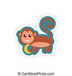 paper sticker on white background monkey with banana