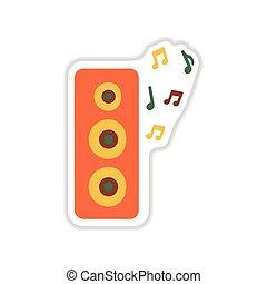 paper sticker on white background musical speaker
