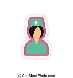 paper sticker on white background nurse medical
