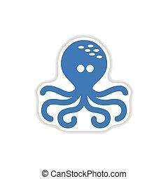 paper sticker on white background octopus