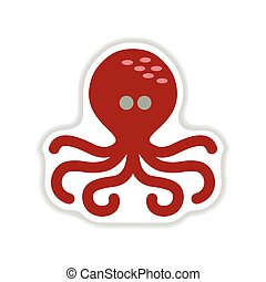 paper sticker on white background octopus
