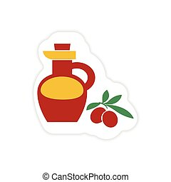 paper sticker on white background olive oil