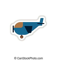 paper sticker on white background plane with propeller