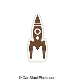 paper sticker on white background rocket