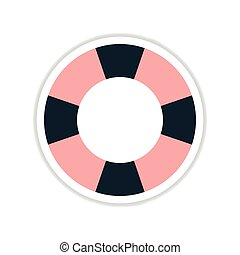 paper sticker on white background round Lifebuoy