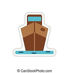 paper sticker on white background ship