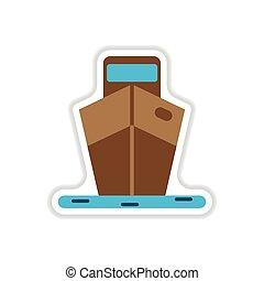 paper sticker on white background ship