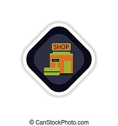 paper sticker on white background shop