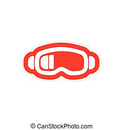 paper sticker on white background ski goggles