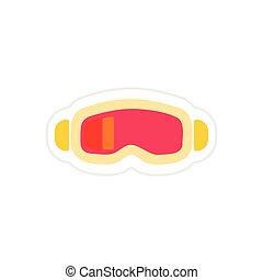 paper sticker on white background ski goggles
