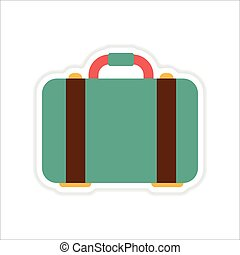 paper sticker on white background suitcase bag