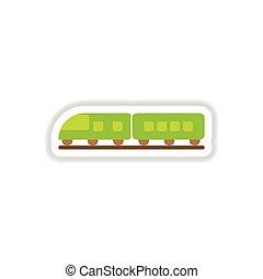 paper sticker on white background train