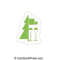 paper sticker on white background Tree glasses gifts