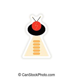 paper sticker on white background ufo ship