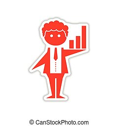 paper sticker on white background businessman schedule