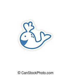 paper sticker on white background whale smiles