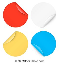 Set of colorfull round paper sticker isolated on a background