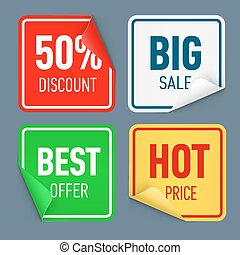 Set of paper color sticker isolated on white background