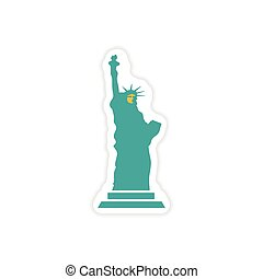 paper sticker The Statue of Liberty on white background