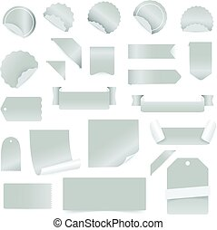 Paper stickers and labels isolated on white background. Vector clip-art