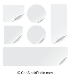 Paper stickers with curled corners on white background. Vector