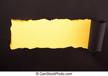 Paper strip torn black yellow background horizontal
