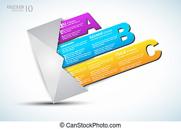 Paper style labels with 3 choices. Ideal for web usage, depliant for product comparison or infographics or business presentation.