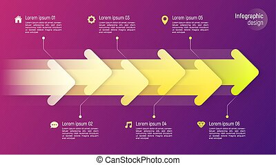 Paper style timeline infographic concept with dynamic arrows on