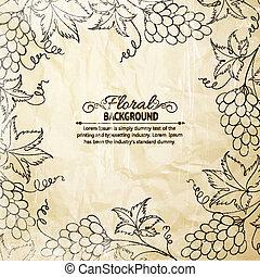 paper., sur, vieux, cadre, raisins