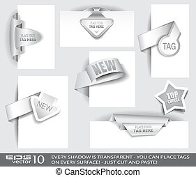 Paper Tag Collection with delicate transparent shadows....