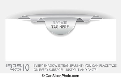 Paper tag with TRANSPARENT shadows.