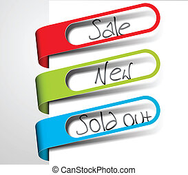 Paper tags for items in sale, sold out and new