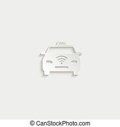 paper Taxi Icon - vector