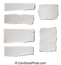 Collection of white paper tears, isolated on white with soft shadows.
