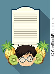Paper template with boy and fruits
