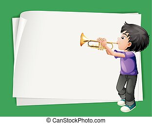 Paper template with boy playing trumpet