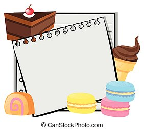 Paper template with cake and icecream