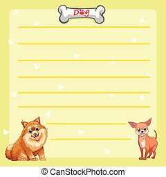 Paper template with cute dogs