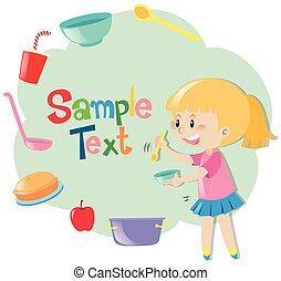 Paper template with girl and kitchenwares