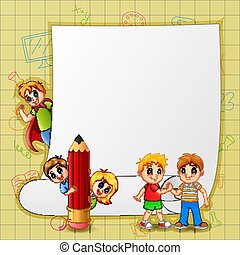 Paper template with happy kids