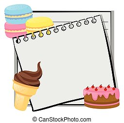 Paper template with icecream and cake