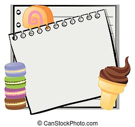 Paper template with icecream and macarons