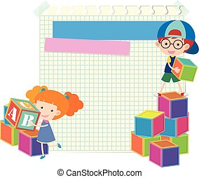 Paper template with kids and blocks