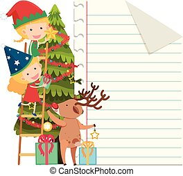 Paper template with kids decorating christmas tree