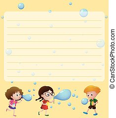 Paper template with kids playing bubbles